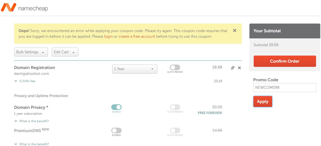 Namecheap khuyến mãi domain .COM chỉ 5.98 USD cho khách hàng mới