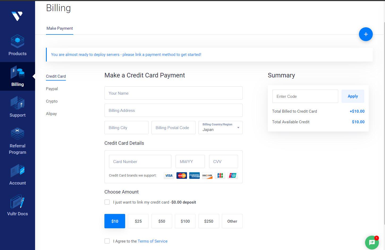 Hướng dẫn đăng ký tài khoản mới tại Vultr