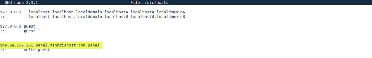 Chuẩn bị để cài Centmin Mod: Thiết đặt domain chính