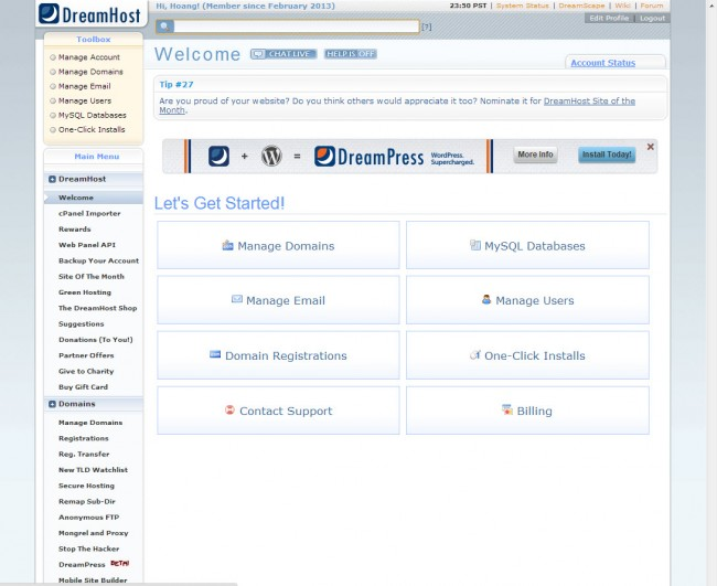 Đánh giá dịch vụ unlimited hosting của DreamHost