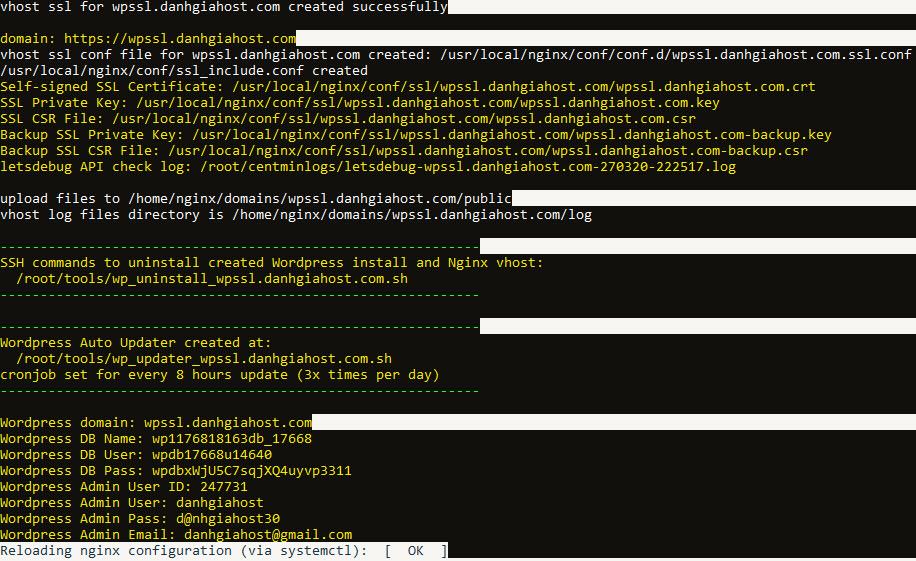 Hướng dẫn cài đặt site WordPress trên server cài Centmin Mod sử dụng Let's Encrypt SSL Certificate
