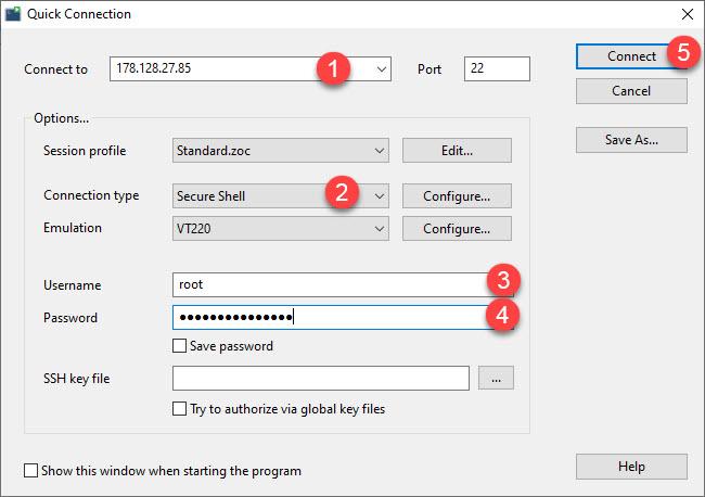 Hướng dẫn sử dụng ZOC Terminal để kết nối SSH với server