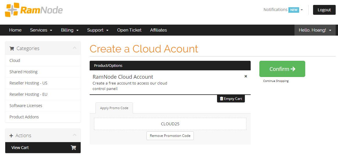 Ramnode cộng thêm 25% khi tiền nộp vào tài khoản Cloud